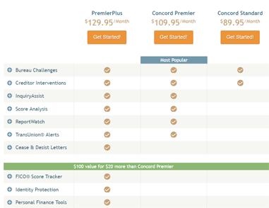 Screenshot of Lexington Law Prices