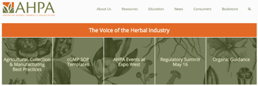 Screenshot of AHPA website