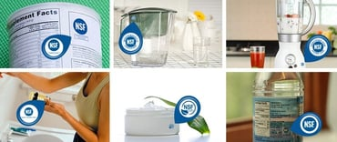 Collage of products with NSF certification