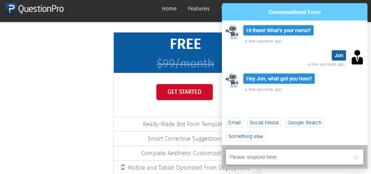 Screenshot of Conversational Forms on QuestionPro website