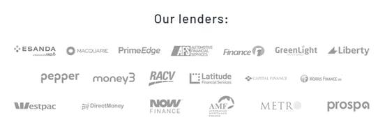Screenshot of lenders from CarLoans.com.au website