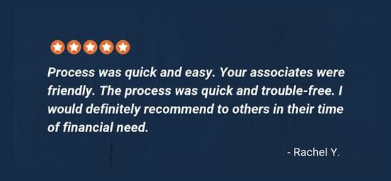 Screenshot of Feedback from MoneyKey customer