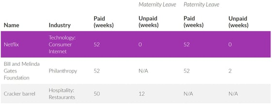 Screenshot of maternity and paternity leave chart