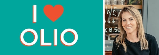 Collage of OLIO logo and Co-Founder and CEO Tessa Clarke