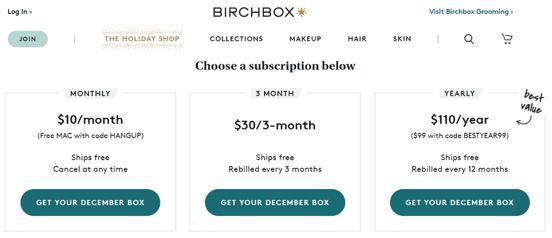 Screenshot of BirchBox Subscription Options