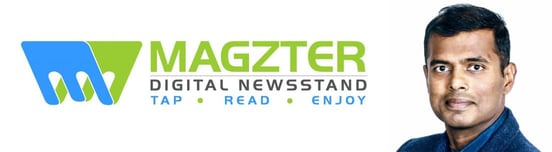 Magzter logo and Co-Founder and President Vijay Radhakrishnan