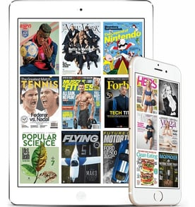Screenshots of Magzter on tablet and smartphone
