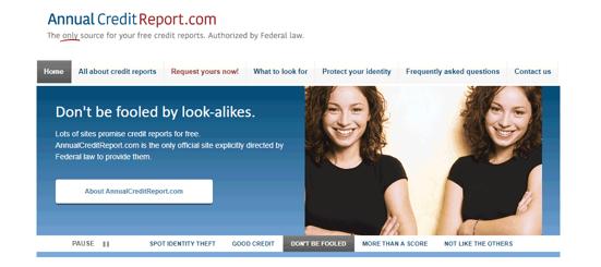 Screenshot of AnnualCreditReport.com