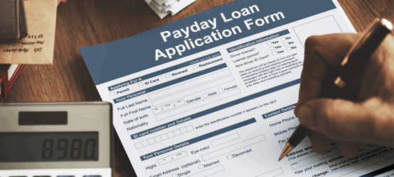 Stock photo of a payday loan application