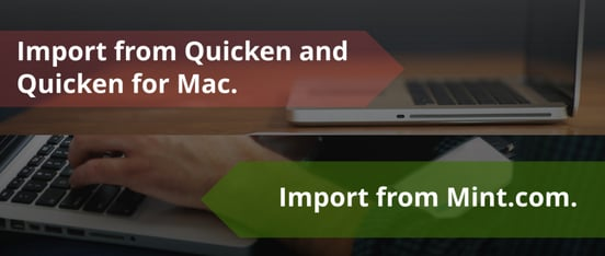 Screenshot of Quicken and Mint import for CountAbout
