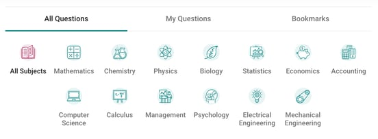 Screenshot of Homework Help categories