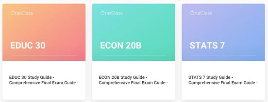 Screenshot of OneClass final exam study guides
