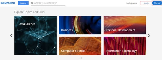 Screenshot of Coursera Topics