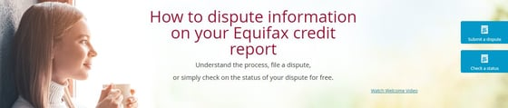 Screenshot of the Equifax dispute page