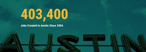 Screenshot of Austin jobs created banner