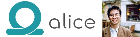 Collage of Alice logo and Product and Communications Manager Dani Ismailov