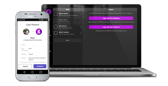 Screenshots of uPort technology on a laptop and mobile device
