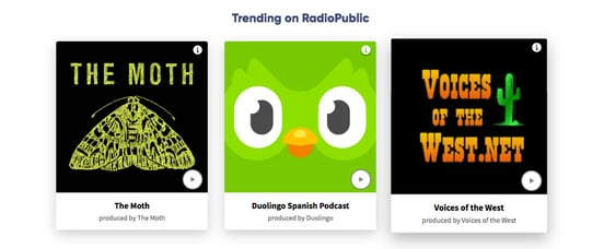 Screenshot of trending podcasts on RadioPublic homepage