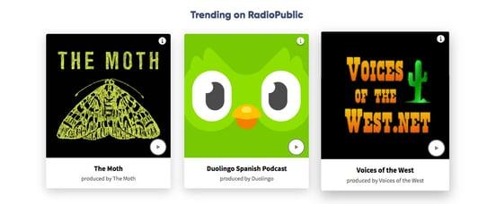 Screenshot of trending podcasts on RadioPublic homepage