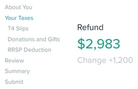 Screenshot of SimpleTax example refund