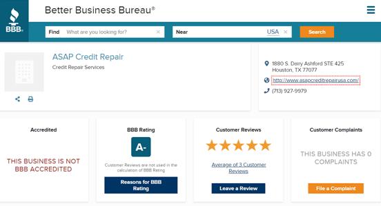 Screenshot of ASAP Credit Repair BBB Page