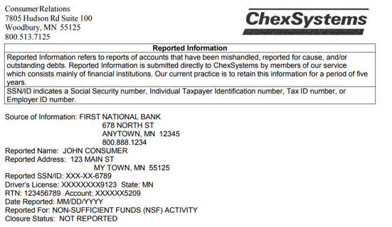 Screenshot of Sample ChexSystems Report