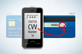 Stock photo of a CVV number on a mobile device and credit card