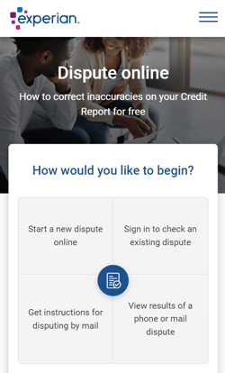 Screenshot of the Experian Online Dispute Page