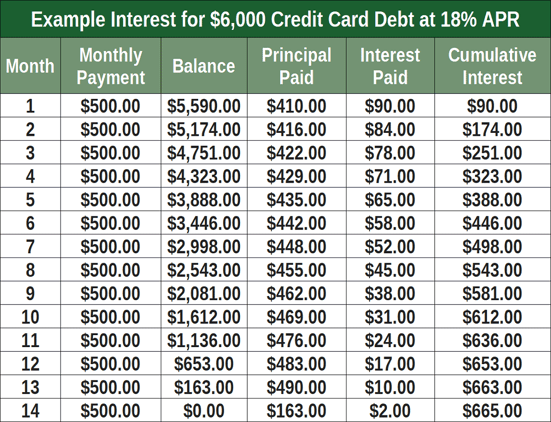 Example Credit Card Interest Fees