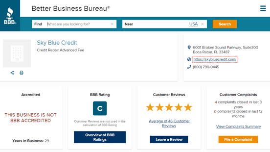 Screenshot of Sky Blue Credit Repair BBB Page