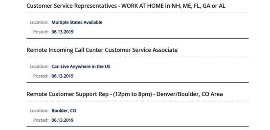 Screenshot of job listing on VirtualAssistants.com