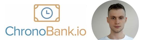 Collage of ChronoBank logo and photo of Florenz Brunner