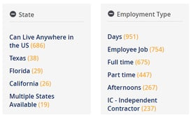 Screenshots of state and industry search parameters on VirtualAssistants.com