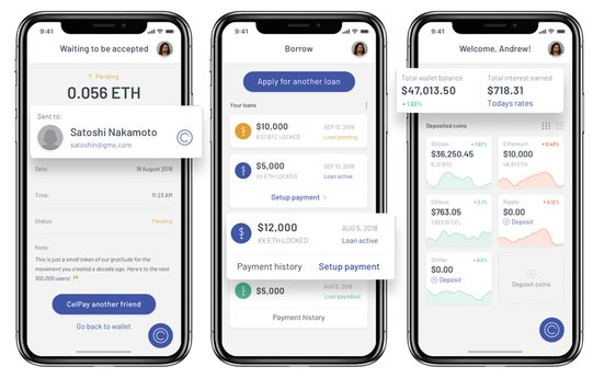 Screenshots of Celsius Network app on mobile devices
