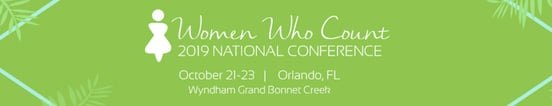 Screenshot of Women Who Count Conference banner