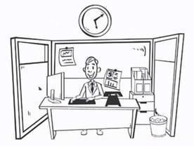 Cartoon Drawing of a Man at a Desk