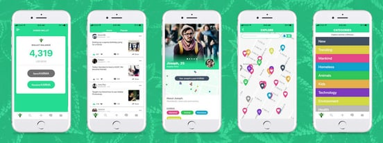 Screenshots of Karma on mobile devices