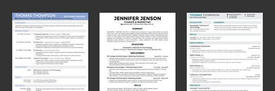 Screenshots of Creddle résumés