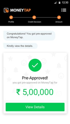 Screenshot from MoneyTap app