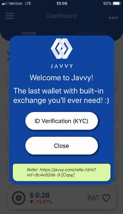 Javvy Signup Screen on Mobile