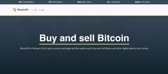 Screenshot of BitcoinVN homepage