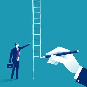 Illustration of Businessman and Ladder