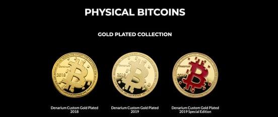Screenshot of Denarium physical Bitcoins