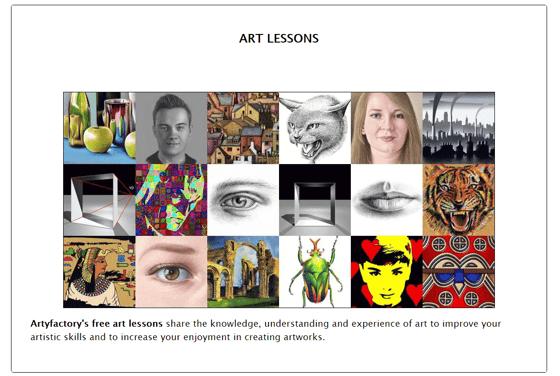 Screenshot of the Artyfactory homepage