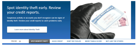 Identity Theft Banner on AnnualCreditReport.com