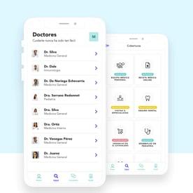 Screenshots from the Elma app