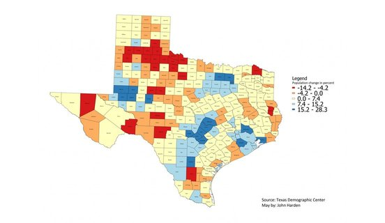 Texas Demographic Center map