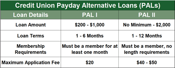 Credit Union Payday Alternative Loans (PALs)