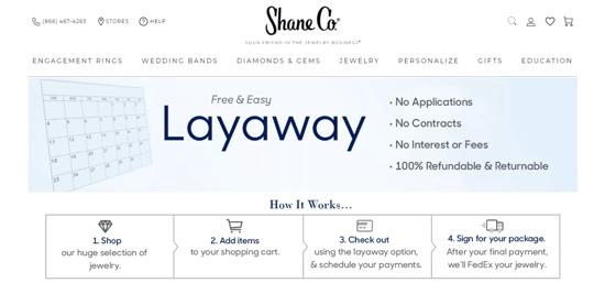 Screenshot of Shane Co. Layaway Program