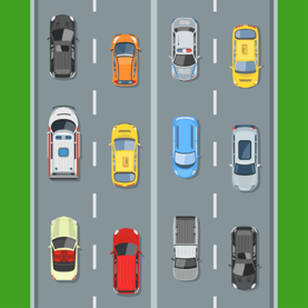 Automobiles Driving on Road Image